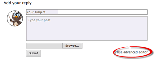 Screenshot with Use advanced editor highlighted