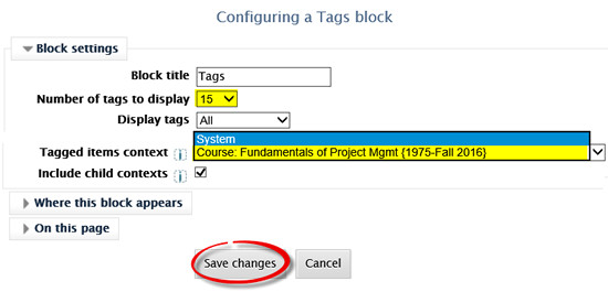 Screenshot of Configuring a tags block interface