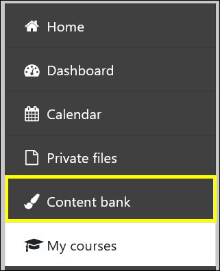 Screenshot of left navigation with Content bank highlighted