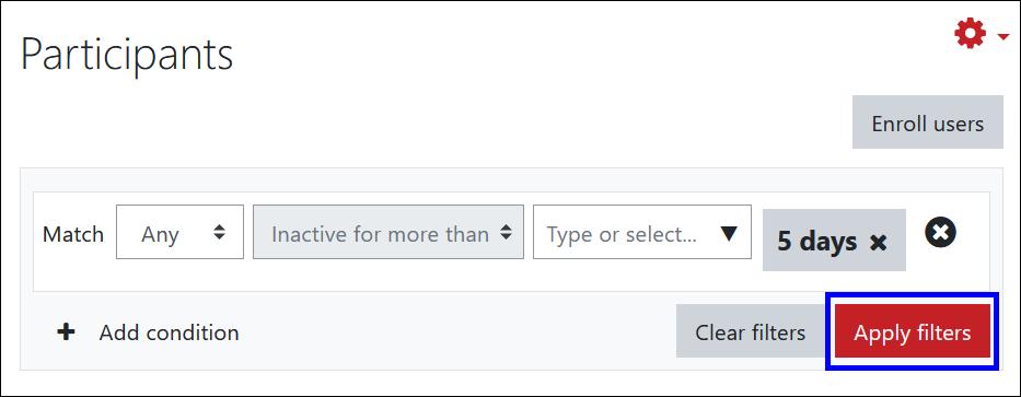 Screenshot of filter options