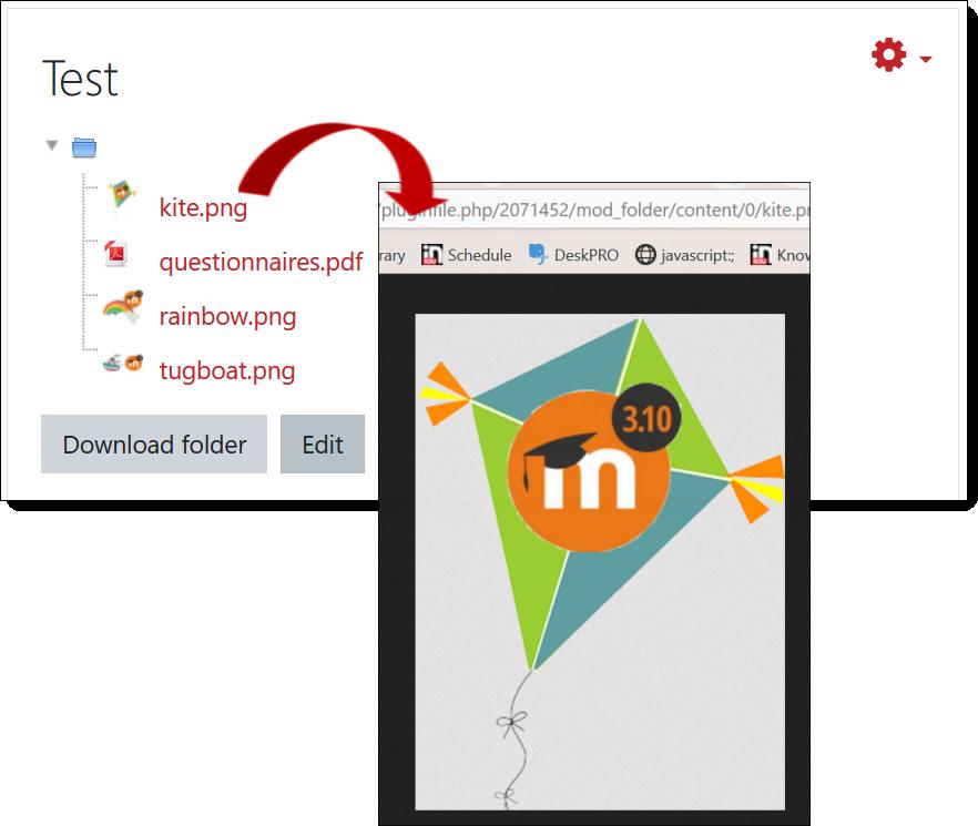 Screenshot of folder image display