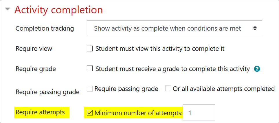 Screenshot of activity completion for quizzes