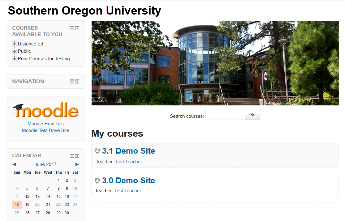 Screenshot of Moodle home page in 3.2