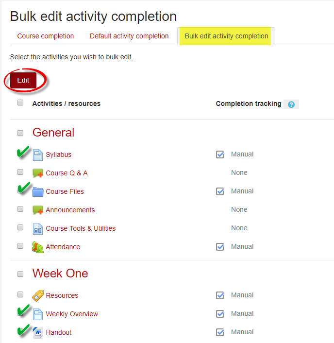 Screenshot of Bulk Activity Completion