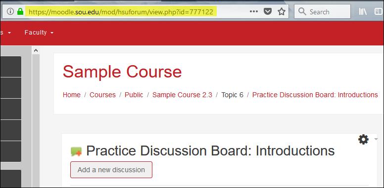 Screenshot of item URL
