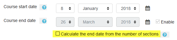 Screenshot of course end date enabled