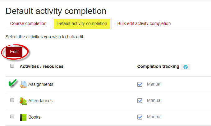 Screenshot of Default Activity Completion Tab