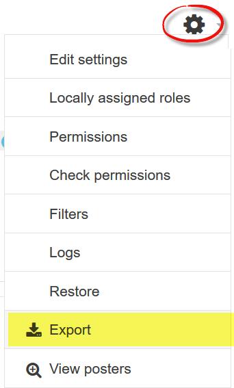 Screenshot of forum export option