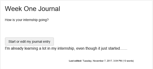 Screenshot of student view of journal receipt