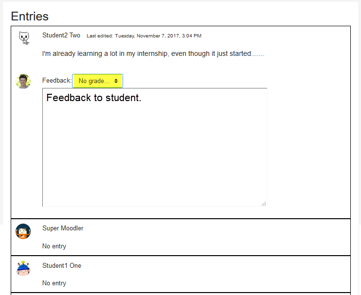Screenshot of instructor view of journal submissions