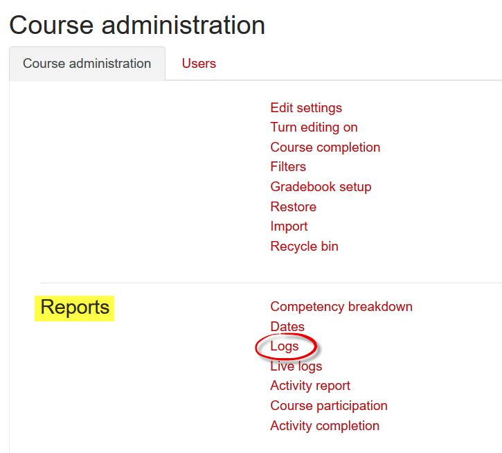 Screenshot of reports area