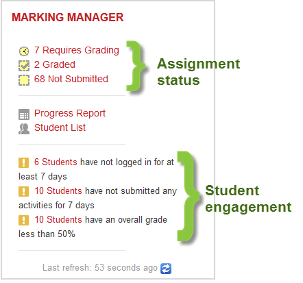 Screenshot of marking manager block
