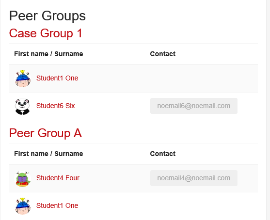 Screenshot of Group Members page
