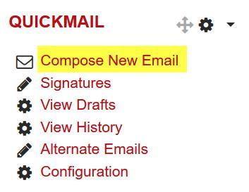 Screenshot of Quickmail block