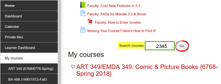 Screenshot of Search courses field