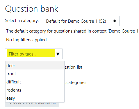 Screenshot of question tag interface