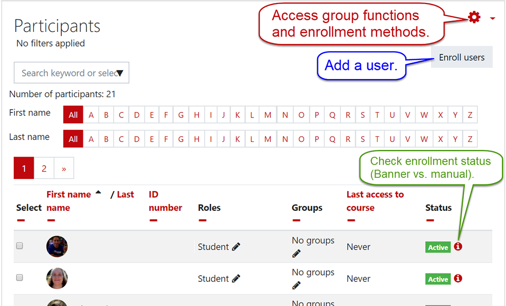 Screenshot of participants page