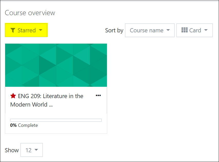 Screenshot of starred course overview