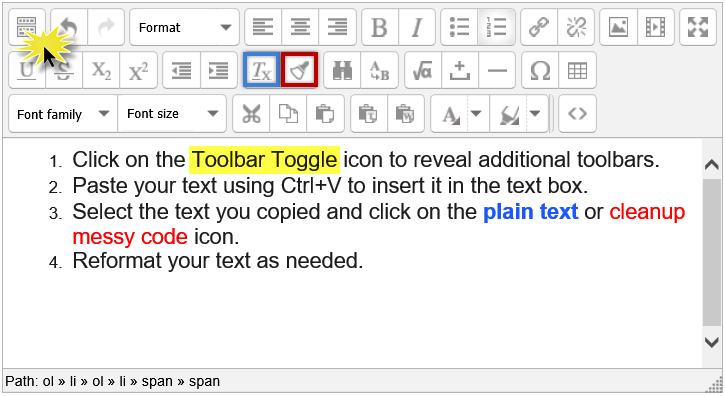 Screenshot of editing icons and textbox