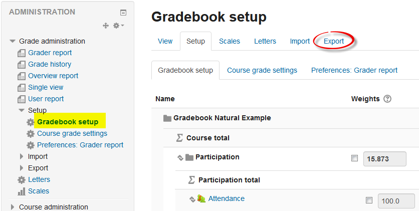 Screenshot of Export tab in gradebook