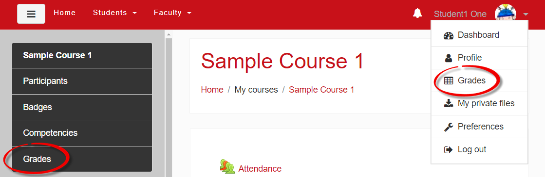 Screenshot of grades links