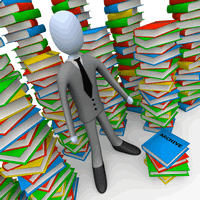 Cartoon character standing in front of books