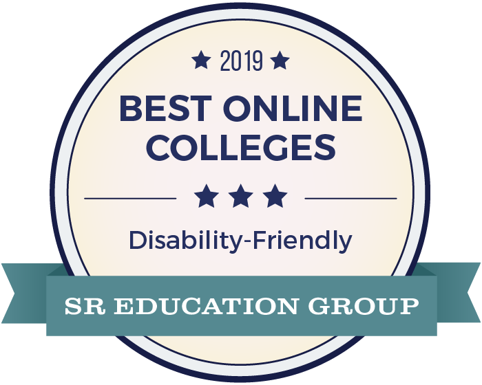 2019 Award for Best Online Colleges Disability Friendly by SR Education Group