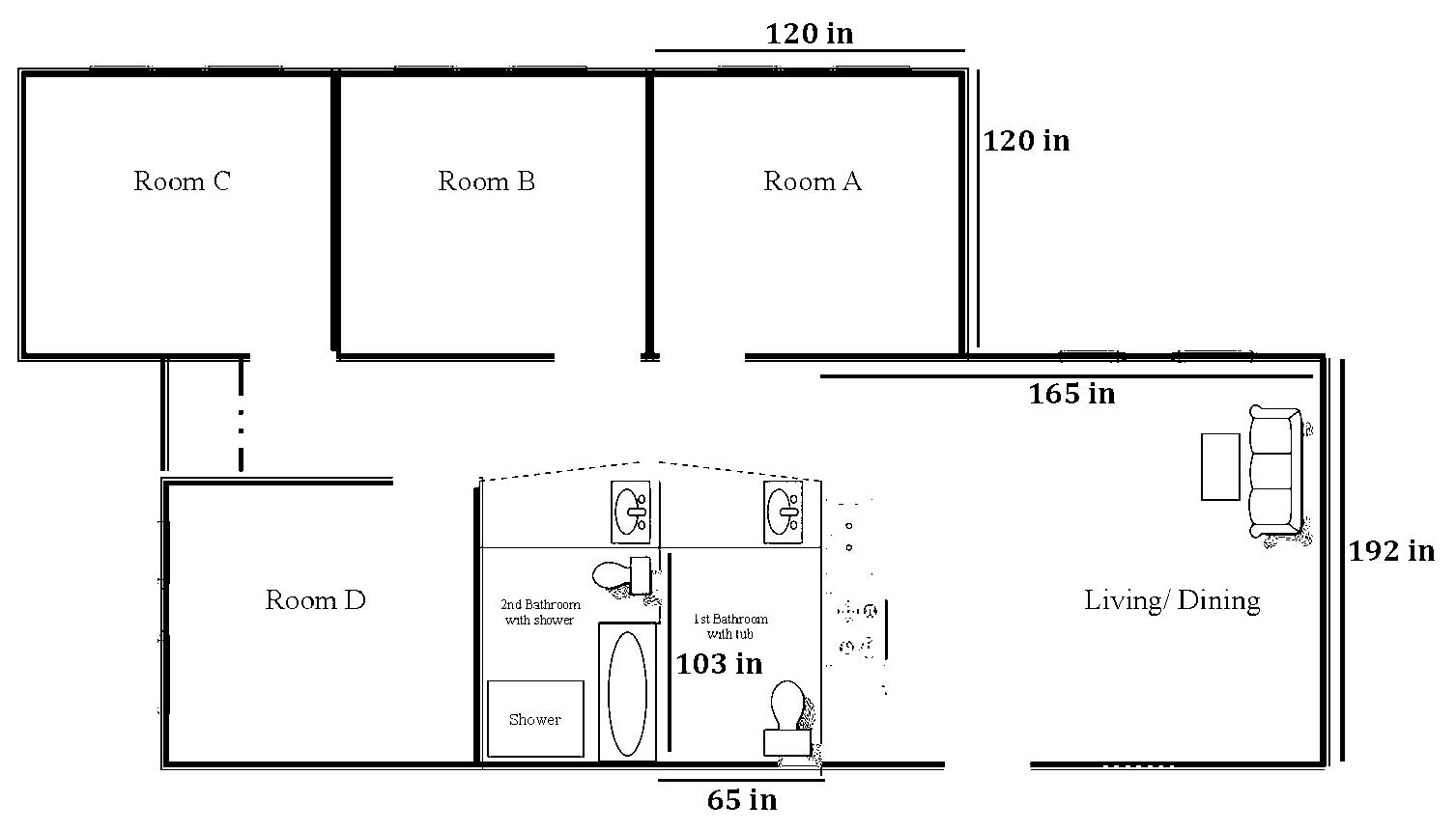 Madrone apartment layout with dimensions