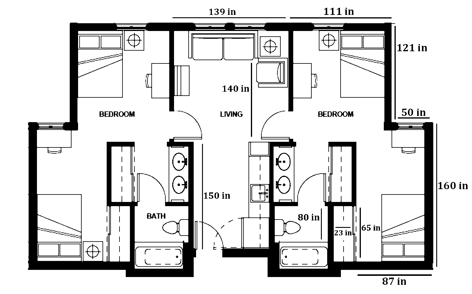 Mcloughlin Double room layout with dimensions