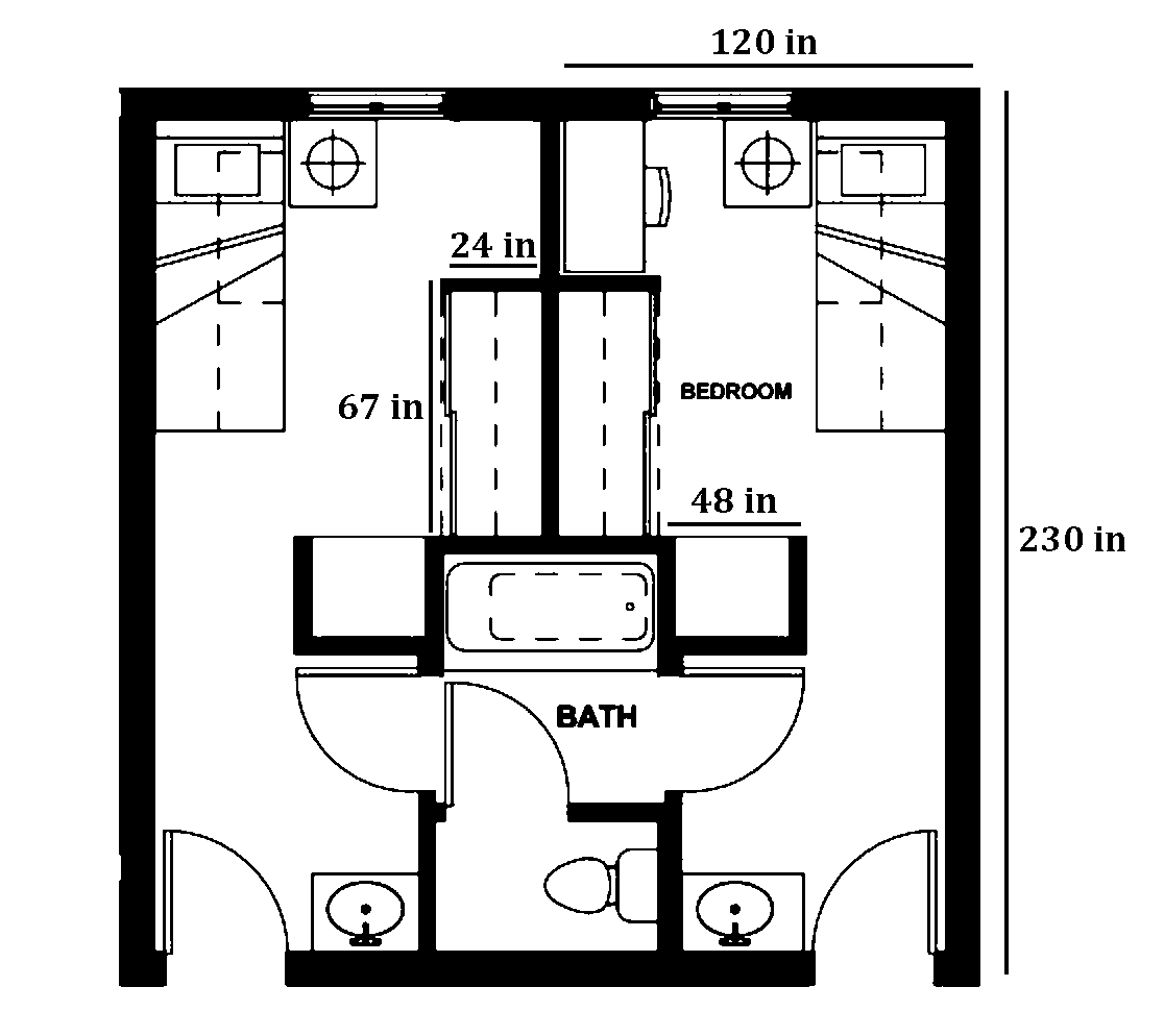 Shasta Single room layout with dimensions