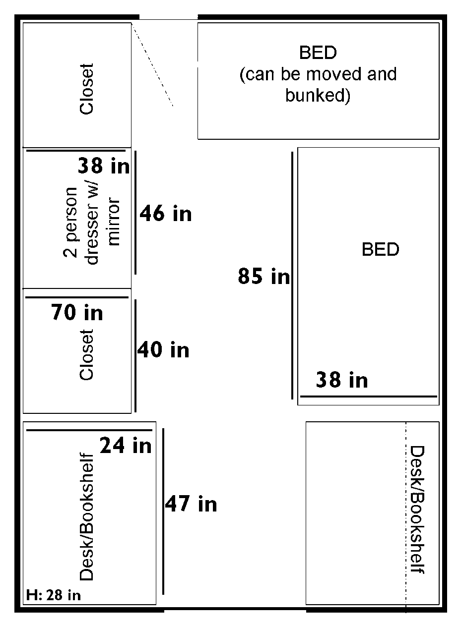 greensprings room layout with dimensions