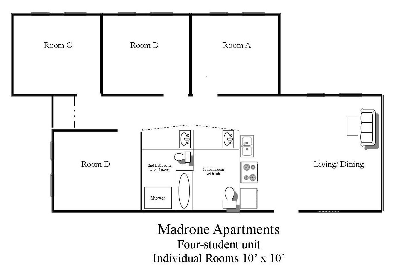 Photo of Madrone Residence Hall apartment layout