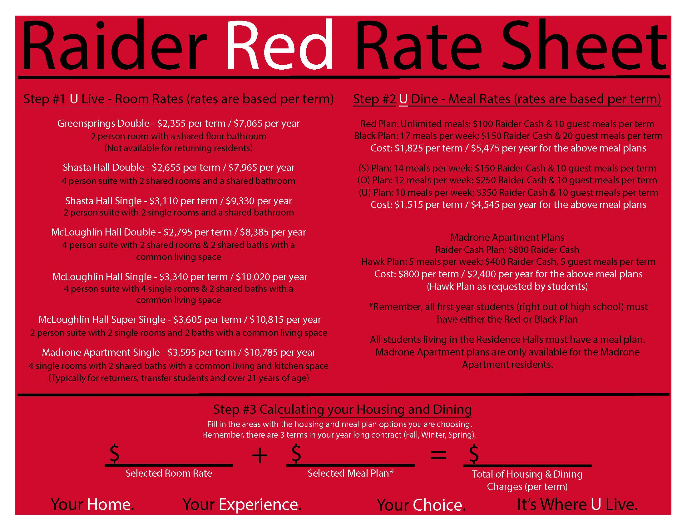 Raider Red Rate Sheet
