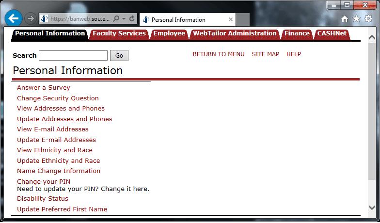 Personal Information Menu