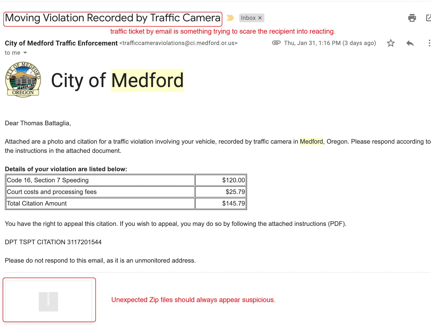 Phishing Sample: Traffic Ticket | Information Technology