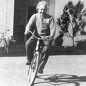 Dr. Einstein riding his bicycle