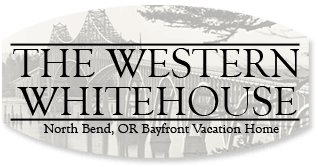 Logo for The Western Whitehouse, North Bend Oregon Bayfront Vacation Home
