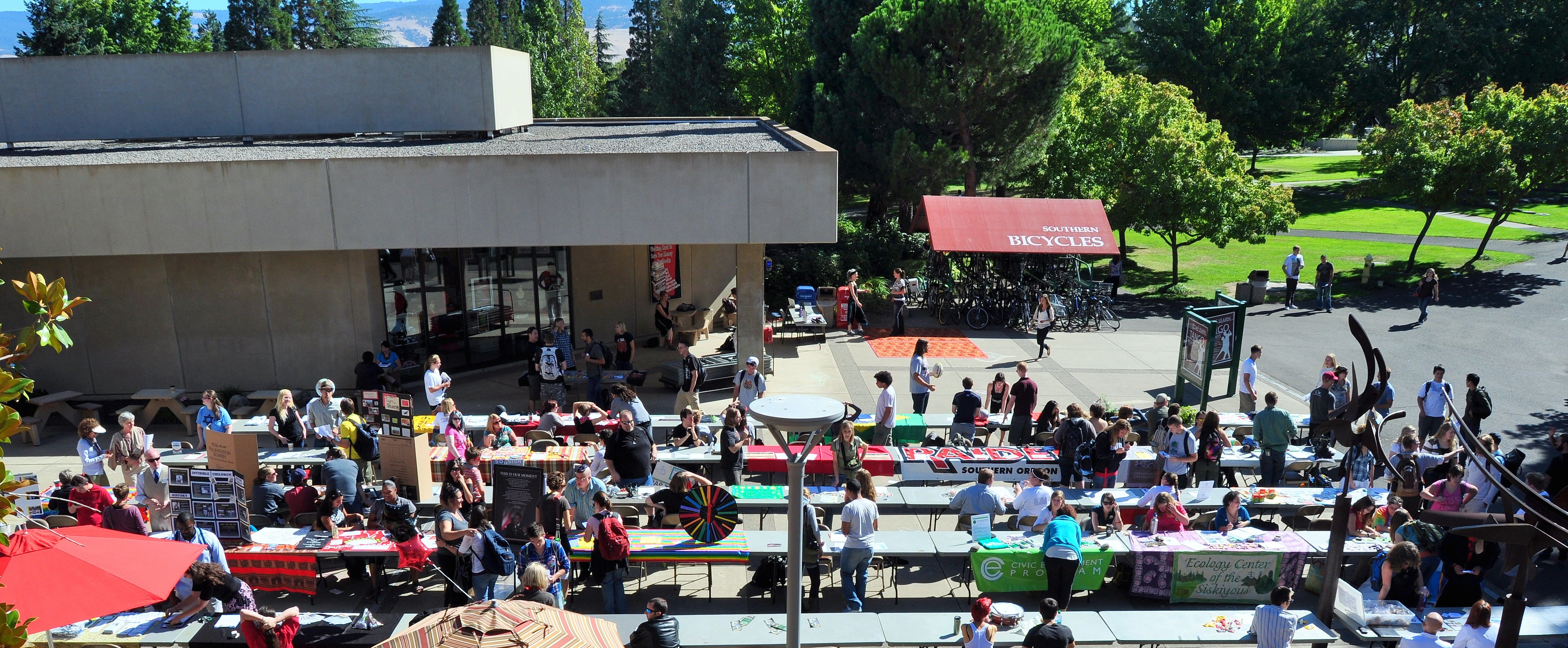 Picture of the Stevenson Union courtyard with lots of tables and people finding out about how to get involved