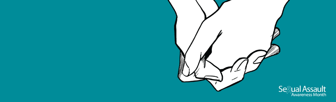 The sexual assault awareness month logo and drawing of two hands holding each other.