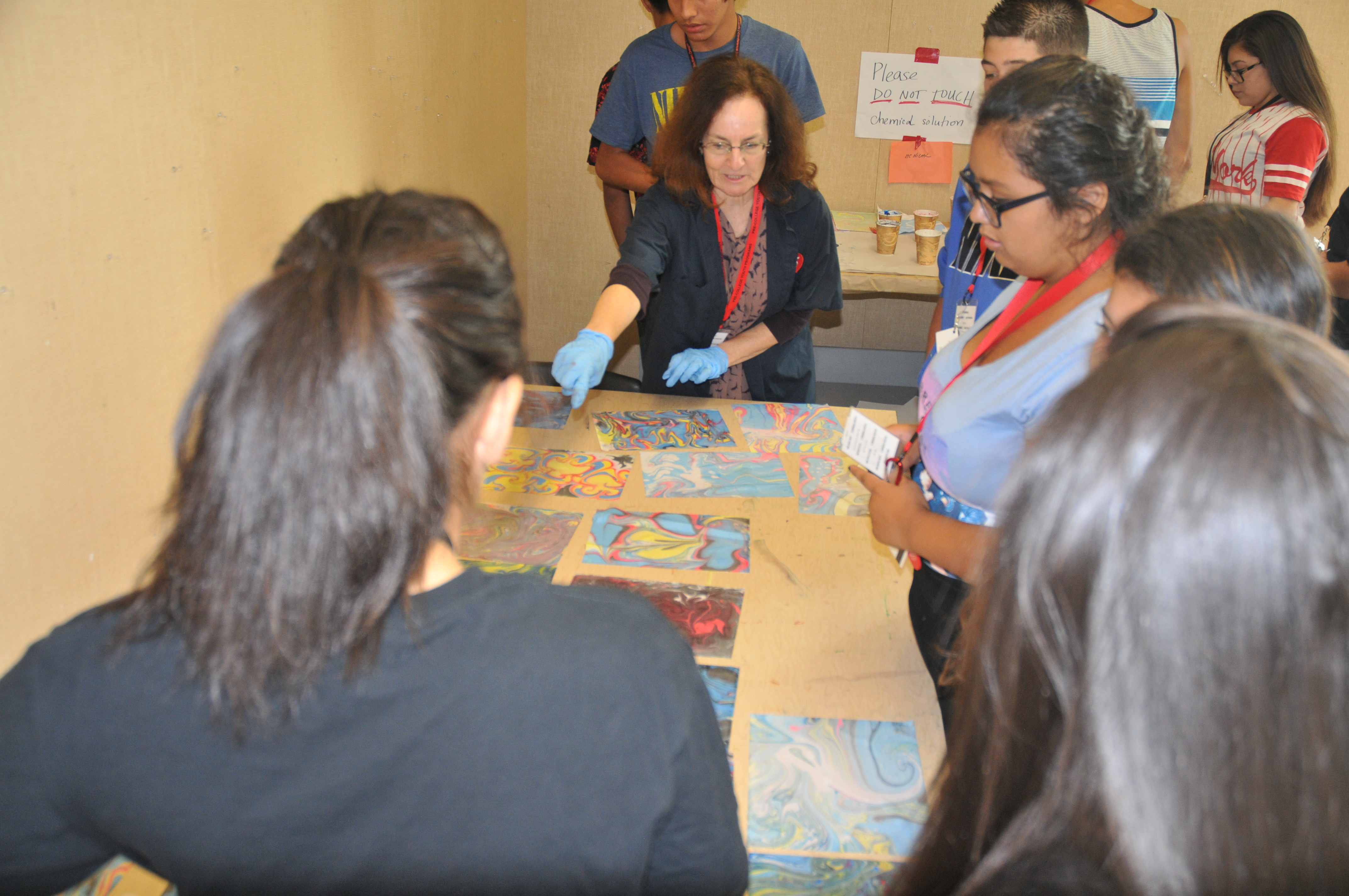 Art Instructor with Academia Latina students